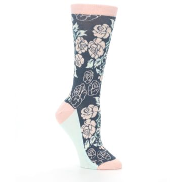 Image of Pink Slate Blue Rose Flower Women's Dress Socks (side-1-26)
