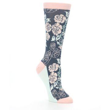 Image of Pink Slate Blue Rose Flower Women's Dress Socks (side-1-27)