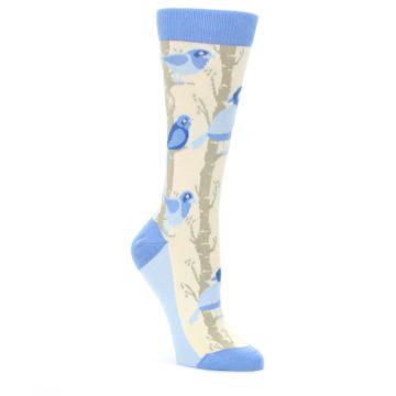 Blue-Cream-Birds-Womens-Dress-Socks-Statement-Sockwear