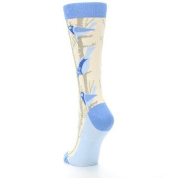Image of Blue Cream Birds Women's Dress Socks (side-2-back-16)