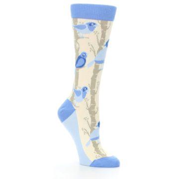 Image of Blue Cream Birds Women's Dress Socks (side-1-27)