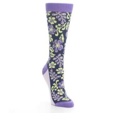 Image of Purple Navy Hawaiian Flower Women's Dress Socks (side-1-front-02)
