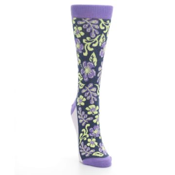 Image of Purple Navy Hawaiian Flower Women's Dress Socks (side-1-front-03)