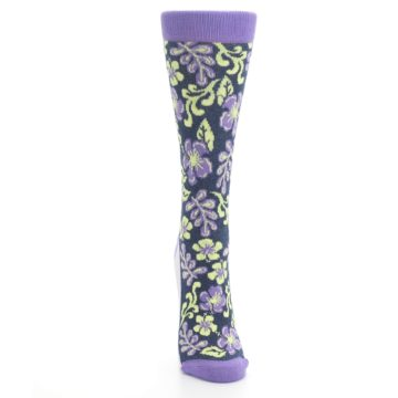 Image of Purple Navy Hawaiian Flower Women's Dress Socks (front-04)
