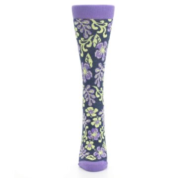 Image of Purple Navy Hawaiian Flower Women's Dress Socks (front-05)