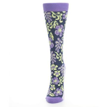 Image of Purple Navy Hawaiian Flower Women's Dress Socks (side-2-front-06)