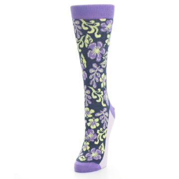 Image of Purple Navy Hawaiian Flower Women's Dress Socks (side-2-front-07)