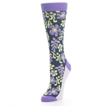 Image of Purple Navy Hawaiian Flower Women's Dress Socks (side-2-front-08)