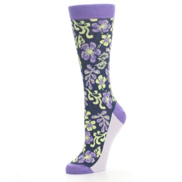 Image of Purple Navy Hawaiian Flower Women's Dress Socks (side-2-09)