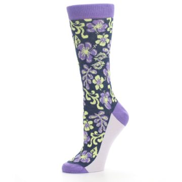 Image of Purple Navy Hawaiian Flower Women's Dress Socks (side-2-10)
