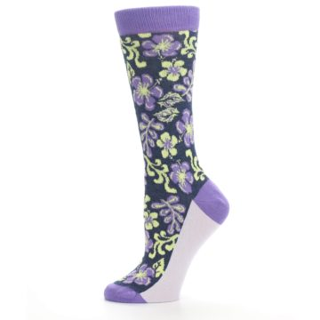 Image of Purple Navy Hawaiian Flower Women's Dress Socks (side-2-11)