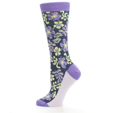 Image of Purple Navy Hawaiian Flower Women's Dress Socks (side-2-12)