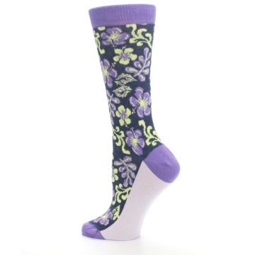 Image of Purple Navy Hawaiian Flower Women's Dress Socks (side-2-13)