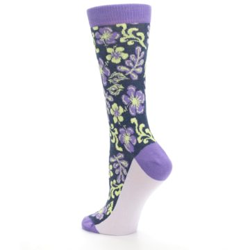 Image of Purple Navy Hawaiian Flower Women's Dress Socks (side-2-back-14)