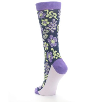 Image of Purple Navy Hawaiian Flower Women's Dress Socks (side-2-back-15)