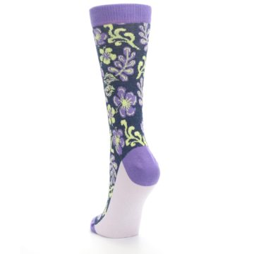 Image of Purple Navy Hawaiian Flower Women's Dress Socks (side-2-back-16)