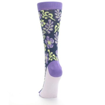 Image of Purple Navy Hawaiian Flower Women's Dress Socks (back-17)