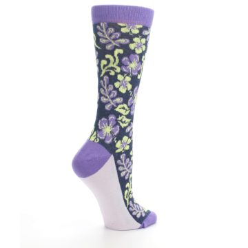 Image of Purple Navy Hawaiian Flower Women's Dress Socks (side-1-23)