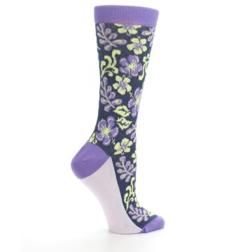 Image of Purple Navy Hawaiian Flower Women's Dress Socks (side-1-24)