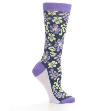 Image of Purple Navy Hawaiian Flower Women's Dress Socks (side-1-25)