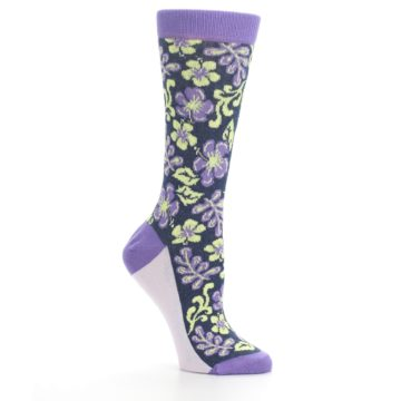 Image of Purple Navy Hawaiian Flower Women's Dress Socks (side-1-26)