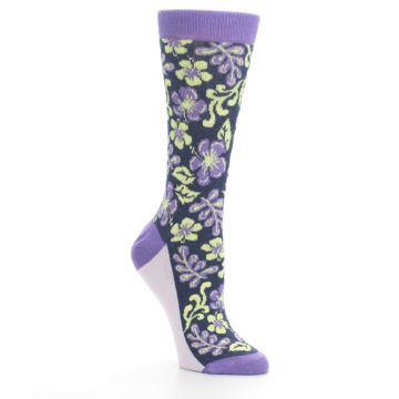 Image of Purple Navy Hawaiian Flower Women's Dress Socks (side-1-27)