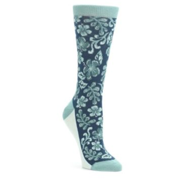25664-Turquoise-Gem-Green-Hawaiian-Flower-Womens-Dress-Socks-Statement-Sockwear