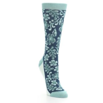 Image of Turquoise Gem Green Hawaiian Flower Women's Dress Socks (side-1-front-02)