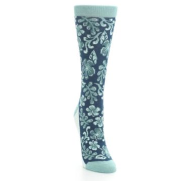 Image of Turquoise Gem Green Hawaiian Flower Women's Dress Socks (side-1-front-03)