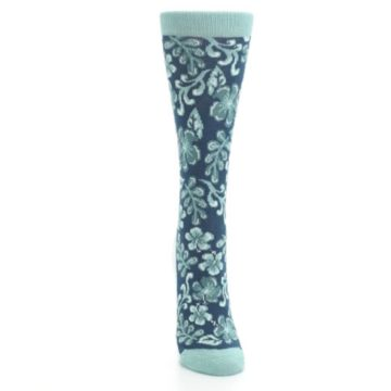 Image of Turquoise Gem Green Hawaiian Flower Women's Dress Socks (front-04)