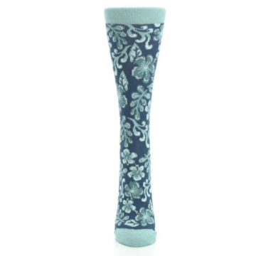 Image of Turquoise Gem Green Hawaiian Flower Women's Dress Socks (front-05)