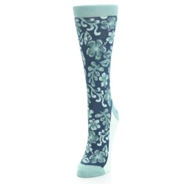Image of Turquoise Gem Green Hawaiian Flower Women's Dress Socks (side-2-front-07)
