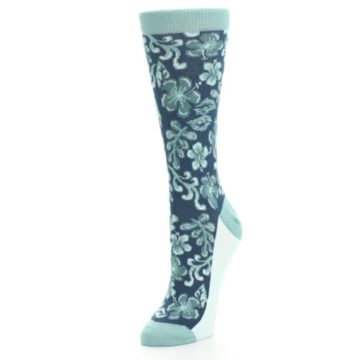 Image of Turquoise Gem Green Hawaiian Flower Women's Dress Socks (side-2-front-08)