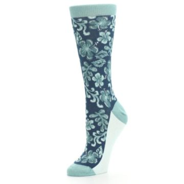 Image of Turquoise Gem Green Hawaiian Flower Women's Dress Socks (side-2-09)
