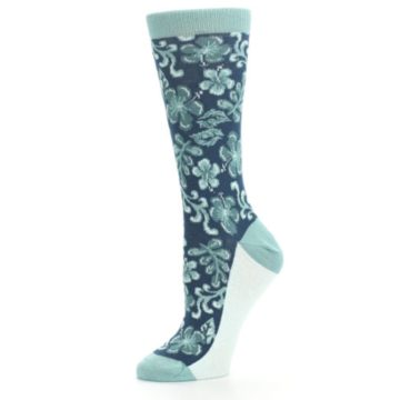 Image of Turquoise Gem Green Hawaiian Flower Women's Dress Socks (side-2-10)