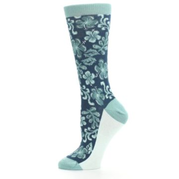 Image of Turquoise Gem Green Hawaiian Flower Women's Dress Socks (side-2-11)