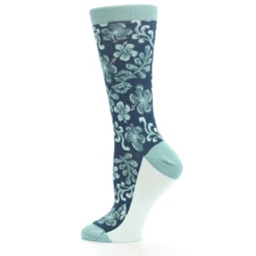 Image of Turquoise Gem Green Hawaiian Flower Women's Dress Socks (side-2-12)
