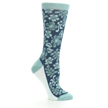 Image of Turquoise Gem Green Hawaiian Flower Women's Dress Socks (side-1-25)