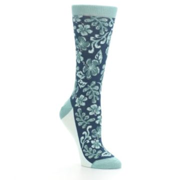 Image of Turquoise Gem Green Hawaiian Flower Women's Dress Socks (side-1-27)