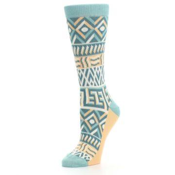 Image of Green Orange Tribal Pattern Women's Dress Socks (side-2-09)