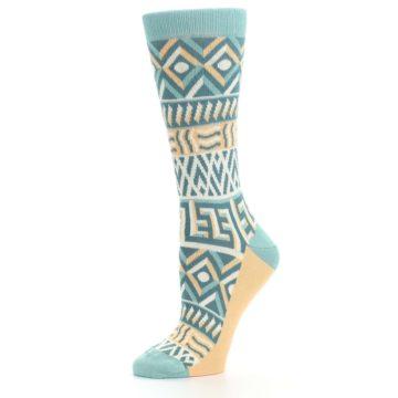 Image of Green Orange Tribal Pattern Women's Dress Socks (side-2-10)