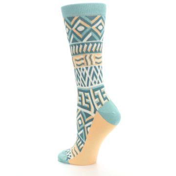 Image of Green Orange Tribal Pattern Women's Dress Socks (side-2-back-14)