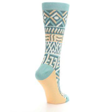 Image of Green Orange Tribal Pattern Women's Dress Socks (side-1-back-22)