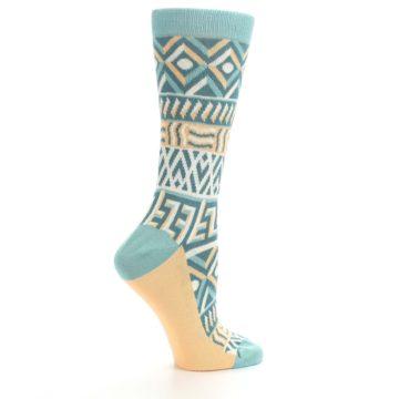 Image of Green Orange Tribal Pattern Women's Dress Socks (side-1-24)