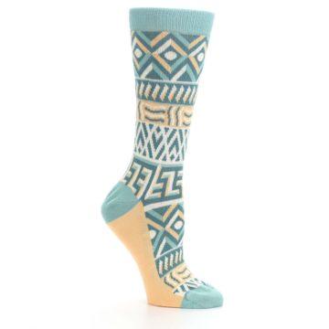 Image of Green Orange Tribal Pattern Women's Dress Socks (side-1-26)