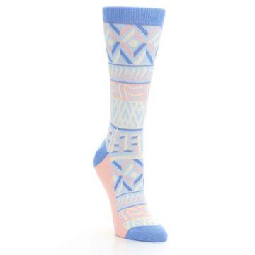 Image of Blue Light Coral Tribal Pattern Women's Dress Socks (side-1-front-02)