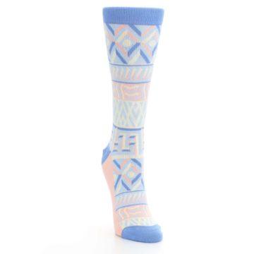 Image of Blue Light Coral Tribal Pattern Women's Dress Socks (side-1-front-03)
