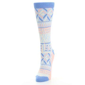Image of Blue Light Coral Tribal Pattern Women's Dress Socks (side-2-front-07)