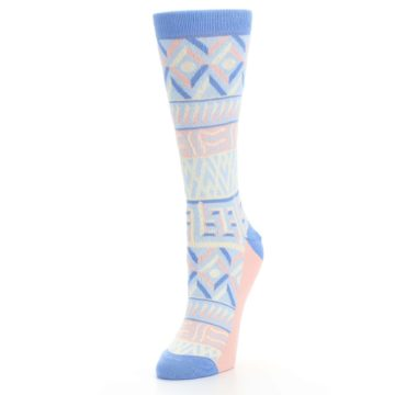 Image of Blue Light Coral Tribal Pattern Women's Dress Socks (side-2-front-08)