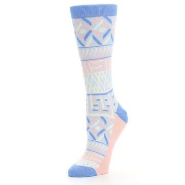 Image of Blue Light Coral Tribal Pattern Women's Dress Socks (side-2-09)
